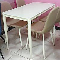 Стол стеклянный Т-300-11 металлический каркас молочного цвета, молочное стекло 110х60х75H