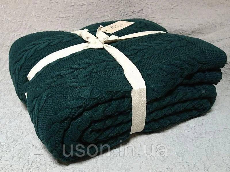 Покрывало вязаное  220x240 BETIRES bremen dark green