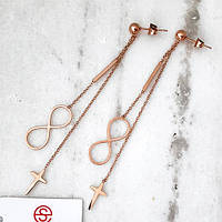 Сережки підвіски з медичної сталі жіночі Нескінченність і хрест 175343