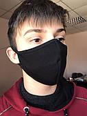 Защитная маска двухслойная многоразовая противовирусная ТЕМНО-СИНЯЯ трикотажная