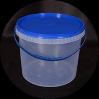 Ведро пластик 3л +крышка синяя, с ручкой прозрачное 0175120