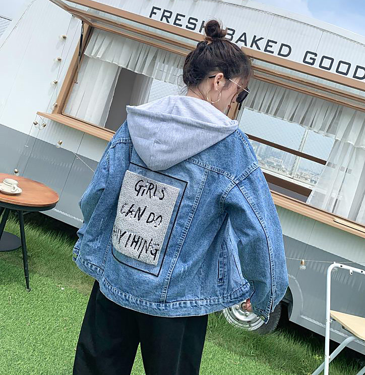 Джинсова куртка зі знімним капюшоном (42-46)