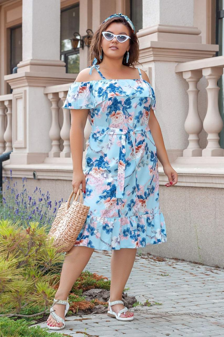 Платье-сарафан, больших размеров, молодежное 50,52,54,56 Голубой