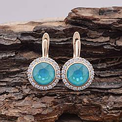 Серьги с кристаллами Swarovski 83159 мини царапинки размер 19*13 мм, цвет бирюзовый, позолота 18К