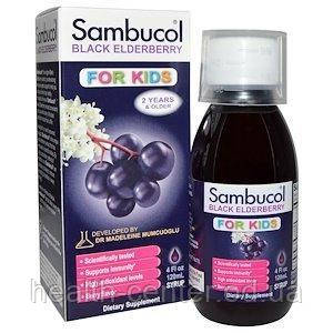 Бузина для детей сироп 120 мл для иммунитета противовирусное от кашля Sambucol USA