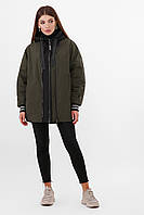 Утепленная молодежная куртка оверсайз цвет черный - хаки Куртка 2103