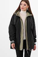 Утепленная молодежная куртка оверсайз цвет черный-светлый хаки Куртка 2103