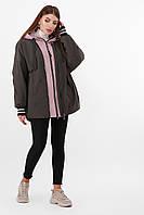 Утепленная молодежная куртка оверсайз цвет хаки-пудра Куртка 2103