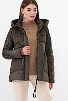 Универсальная женская демисезонная куртка с накладнымы карманами и капюшоном цвет хаки  Куртка М-259