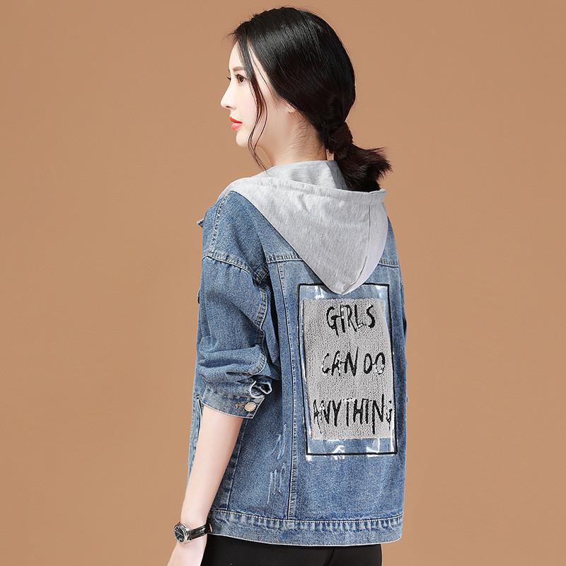 Стильная женская джинсовка с капюшоном (42-46)