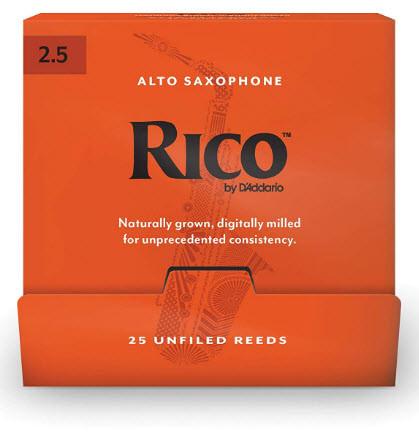 25 штук D`ADDARIO RJA0125-B25 Rico by D'Addario - Alto Sax #2.5 - 25 Box Трости для альт саксофона
