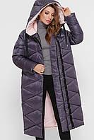 Зимняя стеганая женская куртка больших размеров длинная цвет графит  Куртка 8230