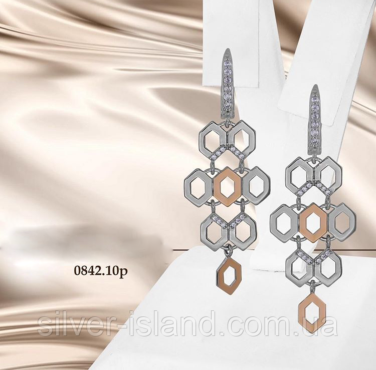 Длинные сережки серебро с золотом Соты