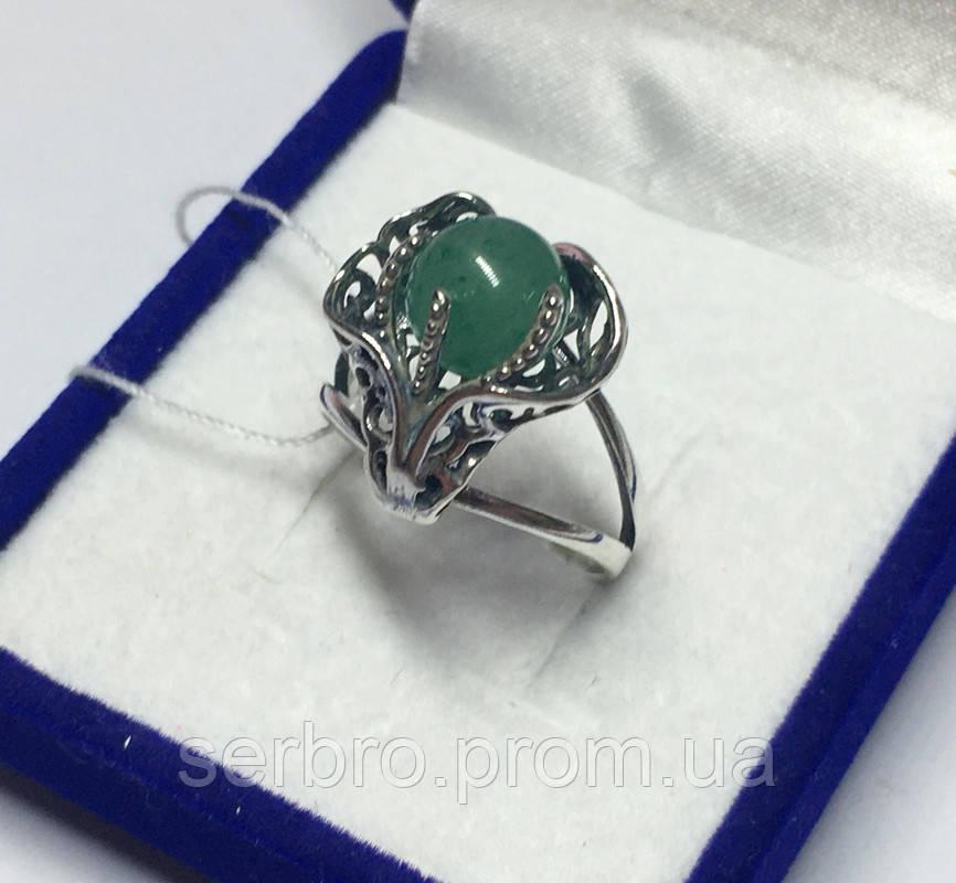 Кольцо серебряное с нефритом Лили
