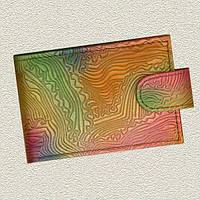 "Визитница карманная 7.5 х 11.5 см 20 визиток натуральная кожа ""Фантазия"" Foliant"