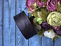 Репсова стрічка 4 см, 25 ярд/рулон, чорного кольору