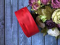 Репсова стрічка 4 см, 25 ярд/рулон, червоного кольору
