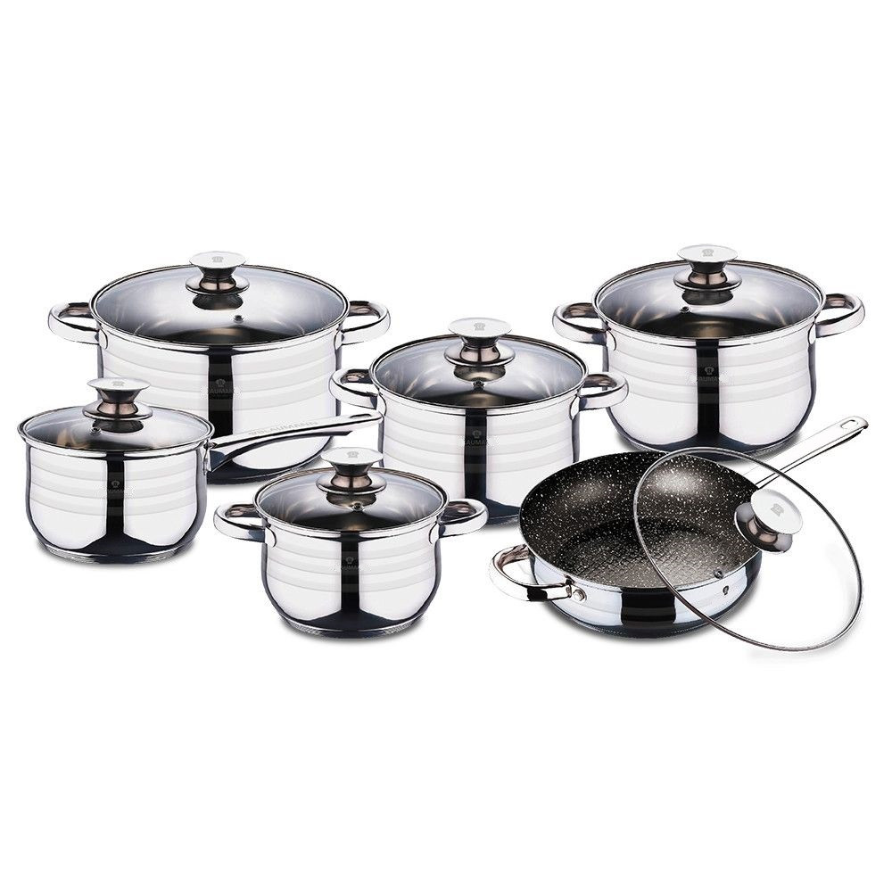 Набор посуды из нержавеющей стали 12 предметов UNIQUE UN-5033