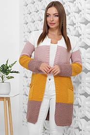Кардиган вязаный стильный четырехцветный с карманами размер универсальный 42-48