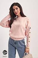 Женский джемпер розового цвета с планкой из пуговиц. Модель 24321