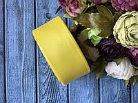Репсова стрічка 4 см, 25 ярд/рулон, жовтого кольору