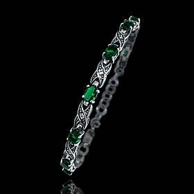 Срібний жіночий браслет із зеленими фіанітами, 180мм