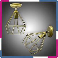 Бра в стиле лофт 1 плафон золотая