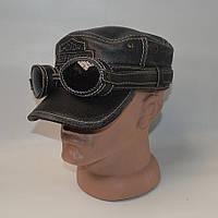 Байкерская кожаная кепка с очками - (Арт 29-168)