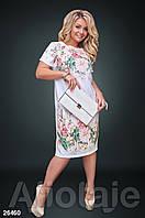 Платье с модным принтом белое, фото 1
