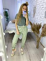 Женские стильные льняные брюки на резинке, фото 1