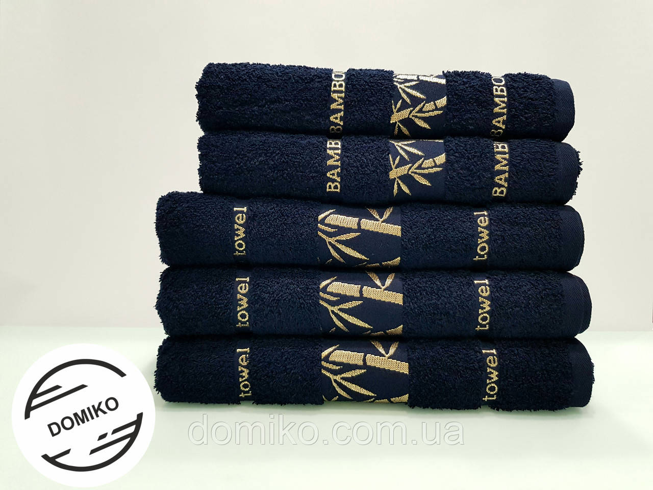 Полотенце махровое 50х90 Бамбук. Темно синее.