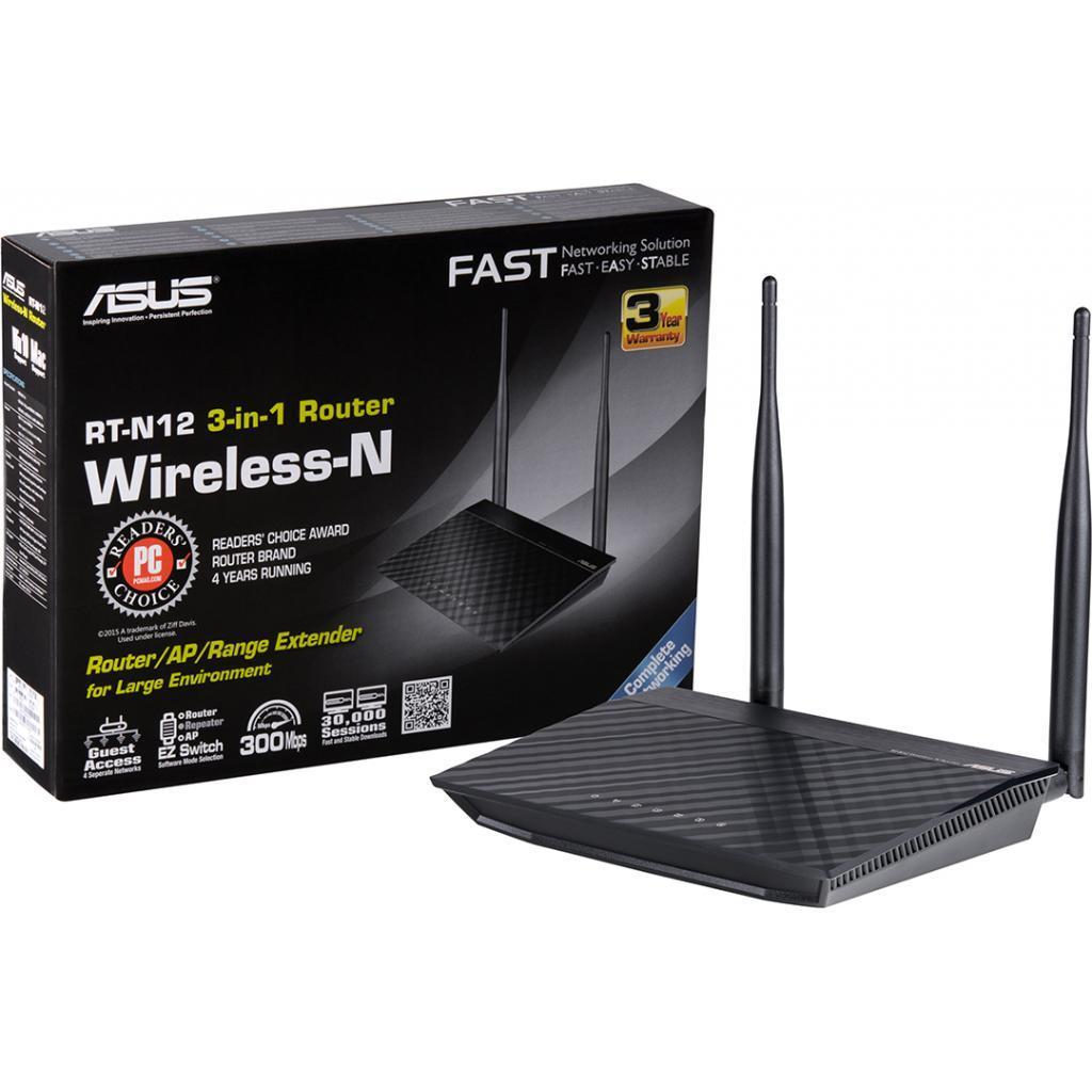 Интернет-шлюз ASUS RT-N12 v.D 802.11n 300Mbps, 4xLAN FE, 1xWAN FE