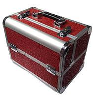 """Бьюти-кейс алюминиевый для мастера маникюра, визажиста и парикмахера """"Круги"""" YRE (красный)"""