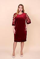 Жіноче оксамитове плаття батал бордового кольору. Розміри 52, 54, 56, 58. Хмельницький, фото 1