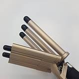Профессиональная плойка пять волн для завивки волос щипцы Gemei GM-2933 Золотой, фото 5