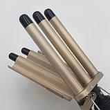 Профессиональная плойка пять волн для завивки волос щипцы Gemei GM-2933 Золотой, фото 6