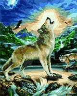 Алмазная картина раскраска Волк при луне