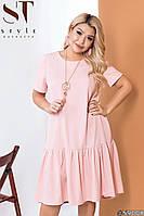 Женское короткое полу-приталенное платье, фото 1