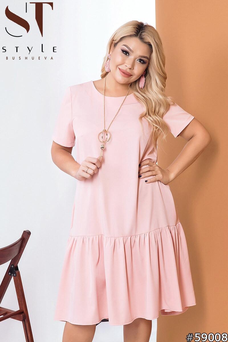 Женское короткое полу-приталенное платье