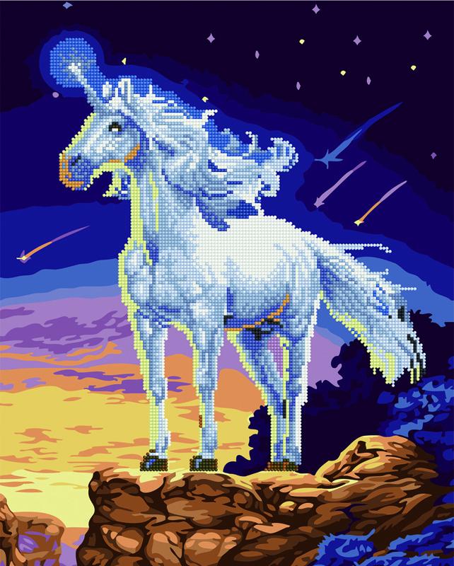 Алмазная картина раскраска Сказочный единорог: продажа ...