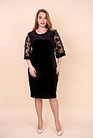 Жіноче оксамитове плаття батал чорного кольору. Розміри 52, 54, 56