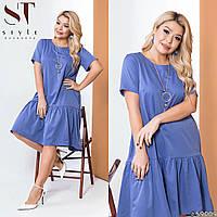Женское полу-приталенное платье синее, фото 1