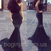 Платье вечернее в пол ,ткань Верх дорогой гипюр Юбка со шлейфом, цвет черный , под заказ, АА № 2923