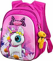 Рюкзак школьный Winner One розовый для девочки с белым единорогом в ромашках ортопедический + брелок мишка