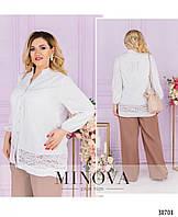 Лёгкая удлинённая блуза свободного силуэта большого размера, 5 цветов р.48-66код 3310Ф