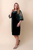Женское бархатное платье батал зеленого цвета. Размеры 52, 54, 56, 58.  Хмельницкий, фото 1