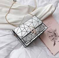 Женская классическая сумочка через плечо жіноча класична на цепочке серая