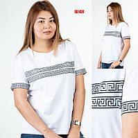Белая летняя женская футболка больших размеров Sogo (Турция) EG 1424