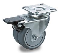 Сдвоенные поворотные колеса с тормозом с площадкой полипропилен/пластичная резина, Ф 50 мм, нагрузка 90 кг