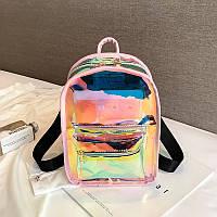 Женский рюкзак мини голографический прозрачный жіночий портфель НЕОН Розовый